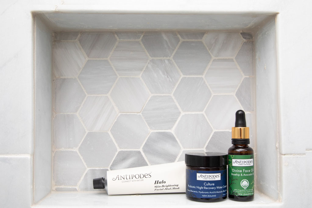 antipodes halo skin brightening mask, face oil, water cream